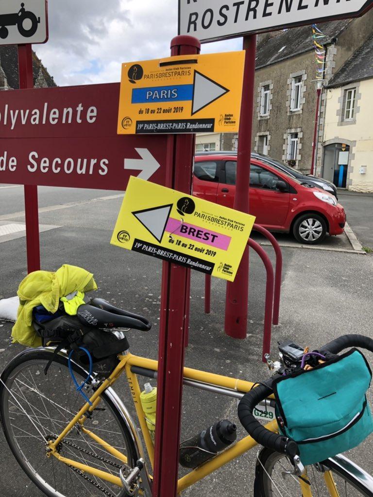 Eleanor's bike and PBP sign