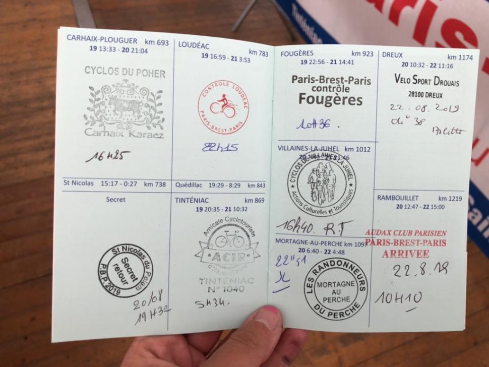 Eleanor's PBP brevet card