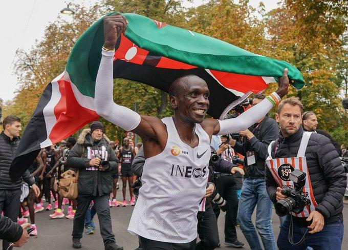 Eliud Kipchoge after running sub 2-hour Marathon (picture via Ineos 1.59 challenge on Twitter)