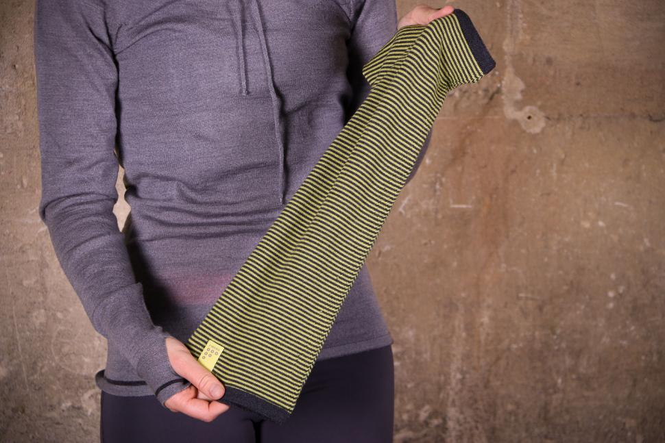 Findra Striped Betty Neck Warmer in Charcoal And Pollen 2.jpg