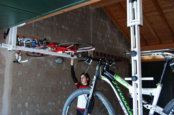 Got A Garage Flat Bike Lift Lets You Store Bikes Under