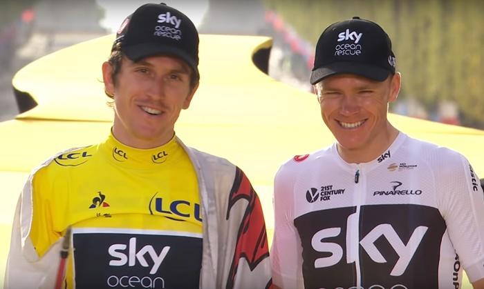 Geraint Thomas and Chris Froome on Tour de France podium (via YouTube) 4c0a4c4eb