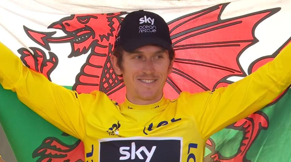 Geraint Thomas on Tour de France 2018 podium.JPG