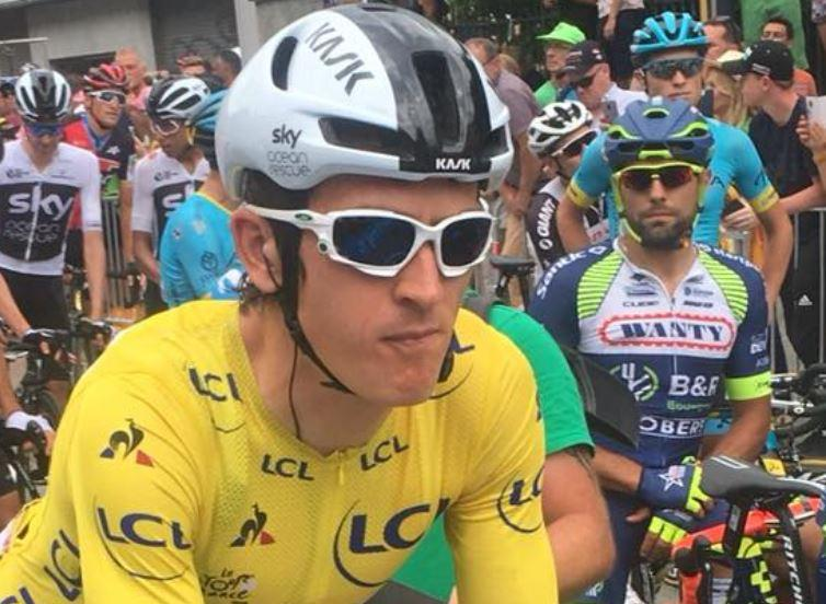 Geraint Thomas in yellow, Tour de France 2018 (picture courtesy Anne Martin).JPG