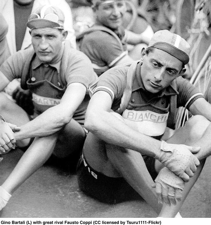 Gino Bartali (L) with great rival Fausto Coppi (CC licensed by Tsuru1111-Flickr).jpg