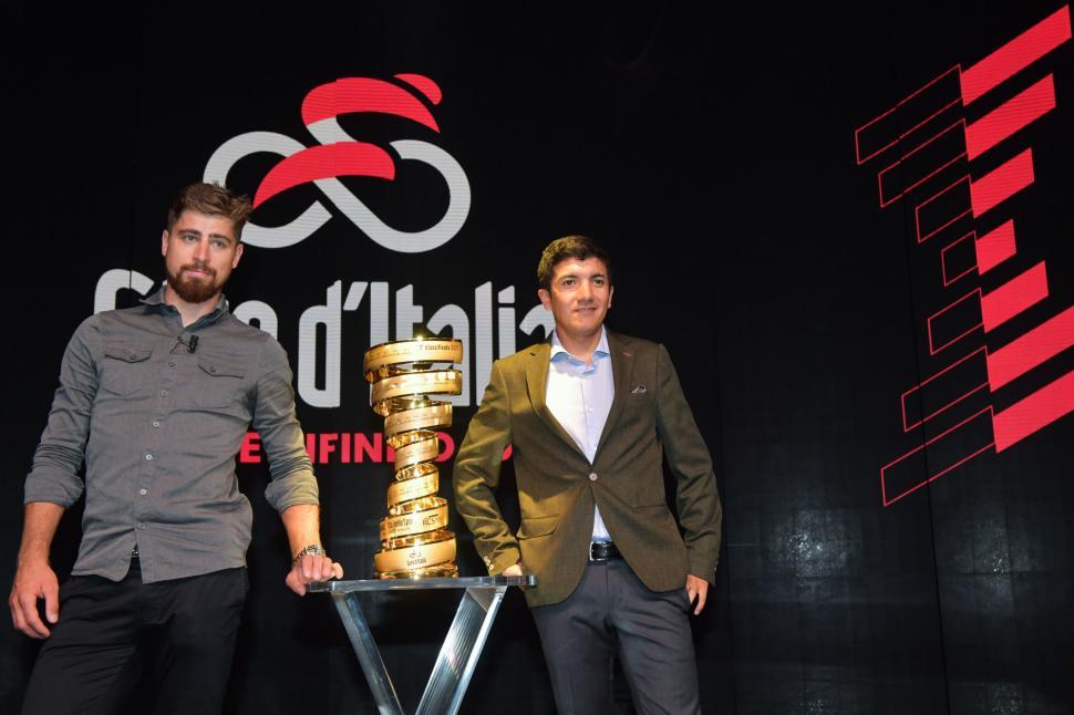 Giro 2020 launch - Peter Sagan and Richard Carapaz (picture credit LaPresse)