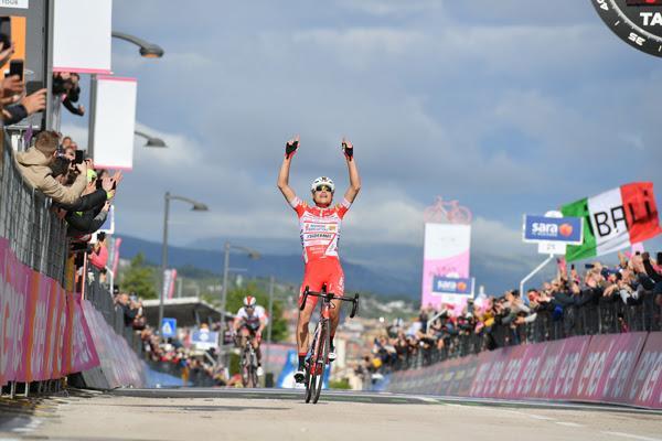Giro d'Ital;ia 2019 Stage 6 - Fausto Masnada wins (picture RCS Sport, La Presse)