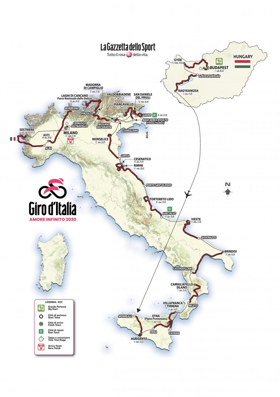 Giro d'Italia 2020 route map