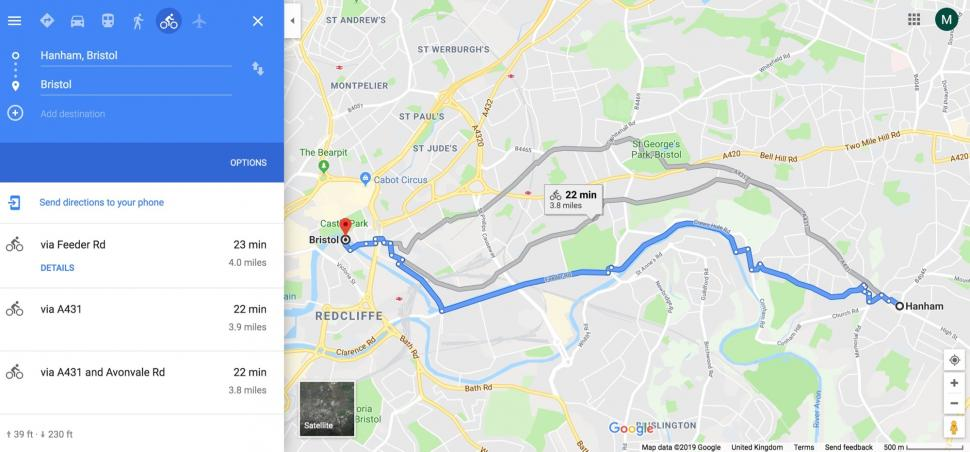 Google Maps cycle route - 1