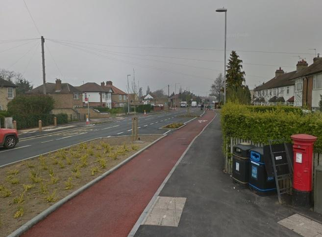 Green End Road cycle lane (via StreetView)