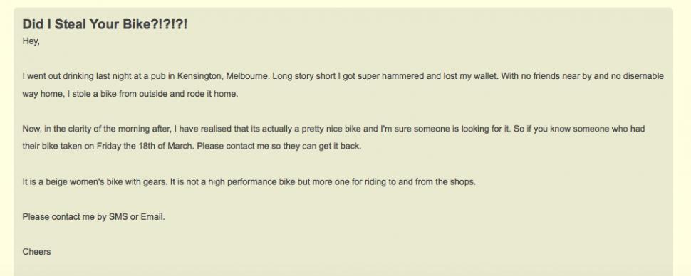 Guilty drunken bike thief posts Gumtree ad to find owner