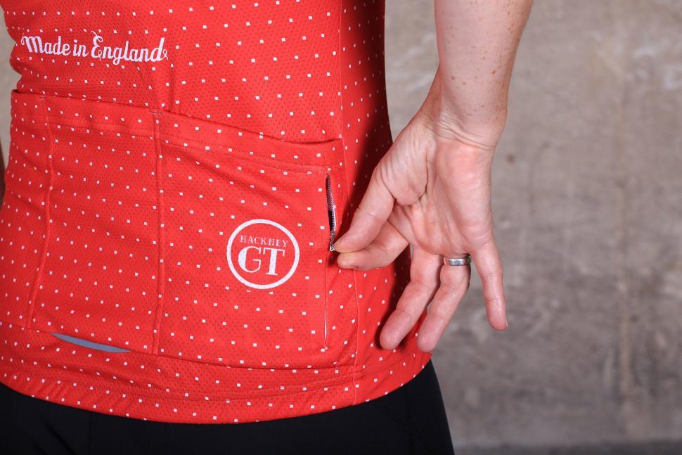 Hackney GT Womens Trackster Red Short Sleeve Jersey - pocket zipped.jpg