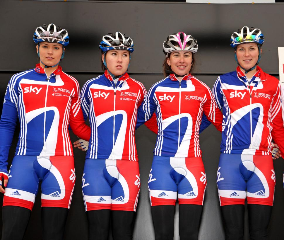 British Cycling team riders Hannah Mayho, Emma Trott, Katie Colclough, Lucy Martin at Fleche Wallone / Photosport International