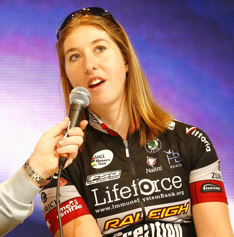 Nicole Cooke answering questions at last year's Cycle show