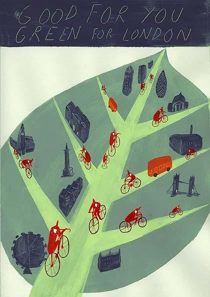 Cycling in London poster by Rachel Lillie