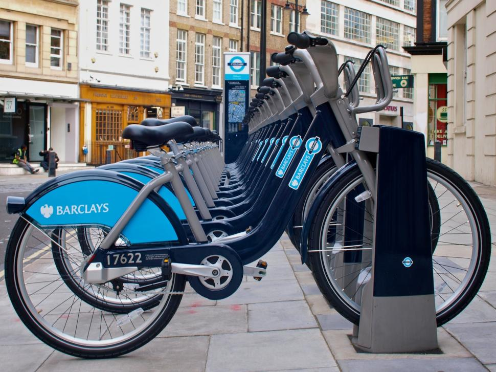 London Cycle Hire Scheme Bikes On Docking Station (copyright Simon MacMichael).jpg