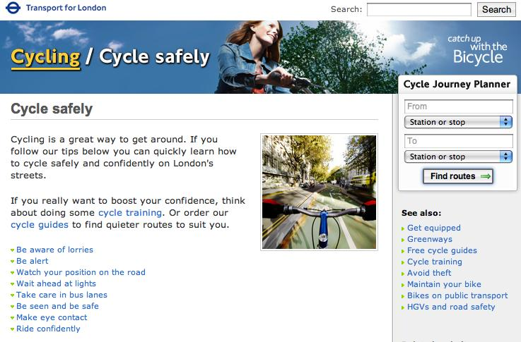 TFL Cycle Safety page
