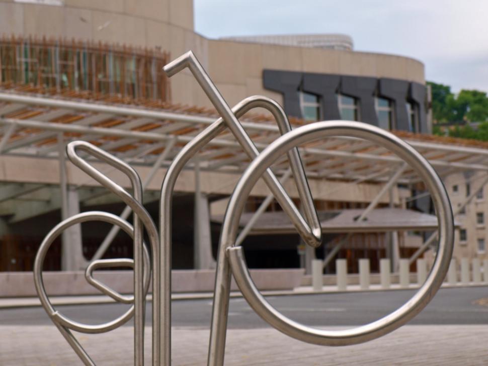 Scottish Parliament Bike Stands (copyright Simon MacMichael).jpg