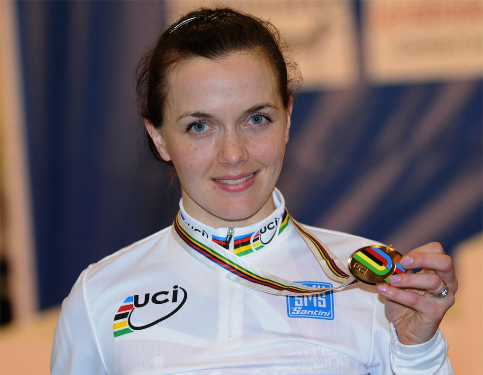 Victoria Pendleton with World gold (copyright British Cycling).jpg