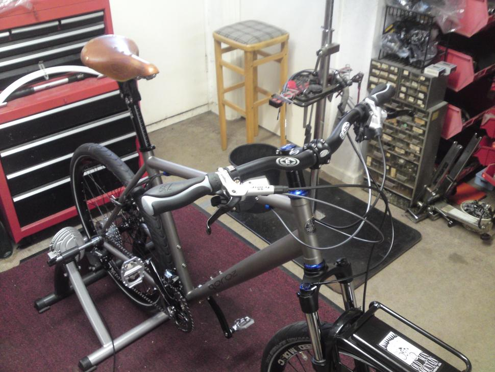 Bike in the shop being fitted