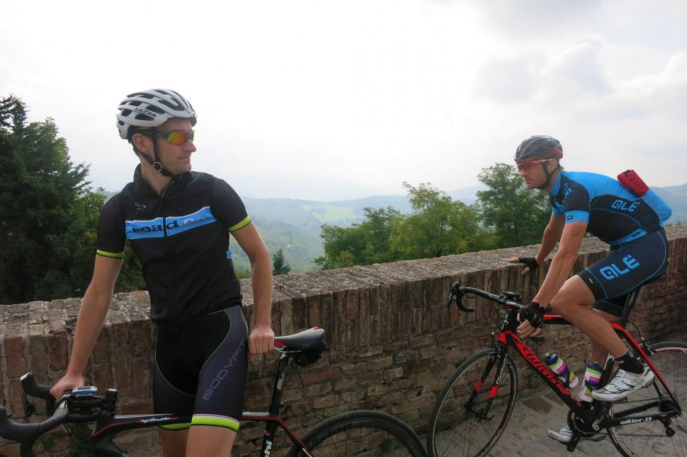 Italy Week Monday - Urbino Mat and Dave by the wall