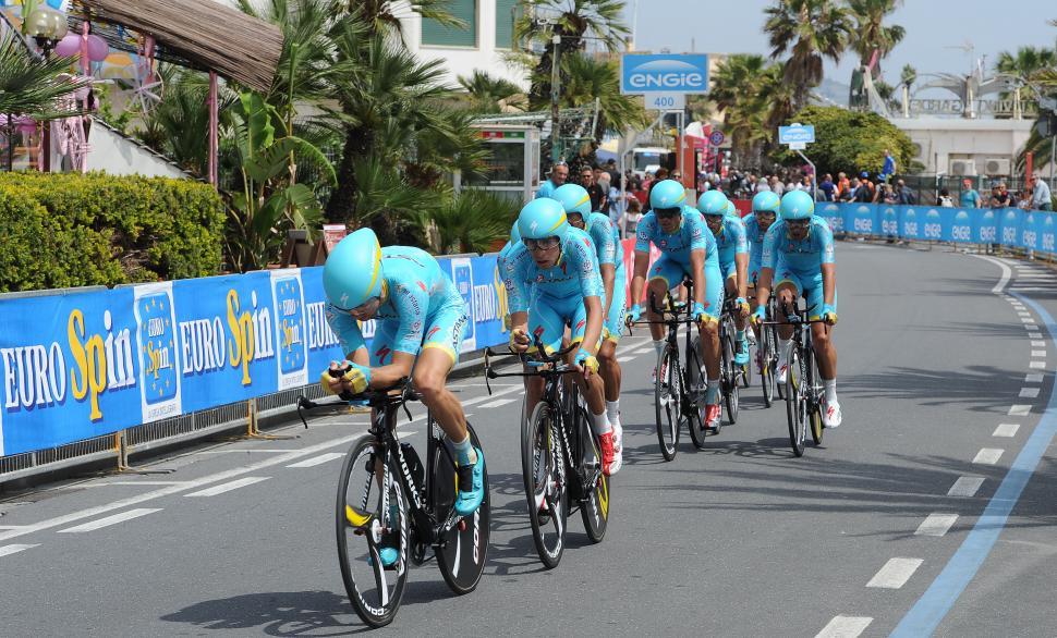 Astana in 2015 Giro d'Italia Team Time Trial (picture Daniel Dal Zennaro, LaPresse)