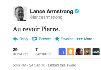 Au revoir Pierre tweet from Lance Armstrong