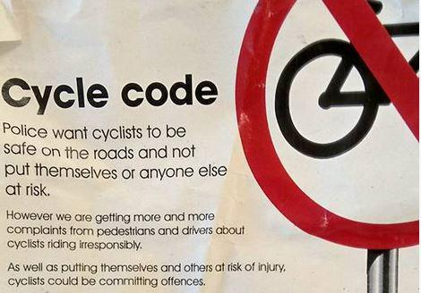 Avon and Somerset Constabulary Cycle Code excerpt (posted to Twitter by Boneshaker Magazine)