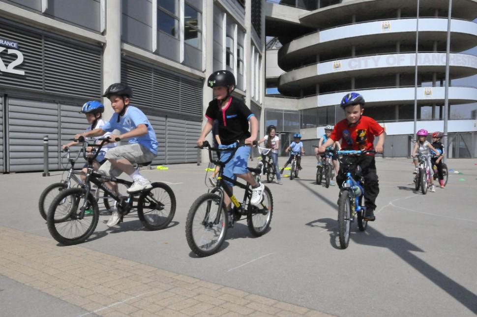 Bikeability Training at Manchester City FC (copyright Britishcycling.org.uk)