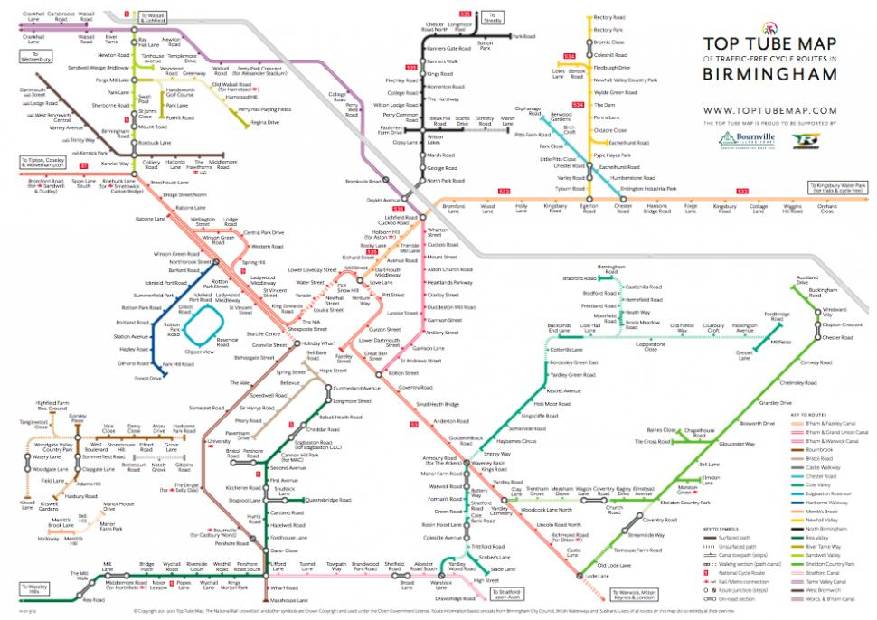 Top Tube Map charts Birmingham's traffic free cycle routes Design