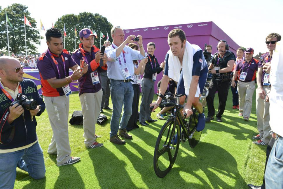 Bradley Wiggins after winning Olympic ITT gold (copyright Britishcycling.org.uk)