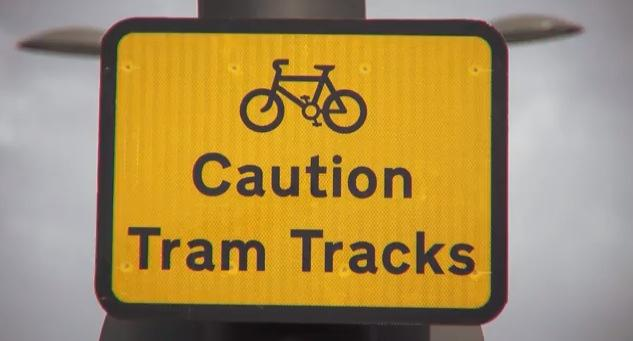Caution Tram Tracks (source - Edinburgh Council YouTube video)