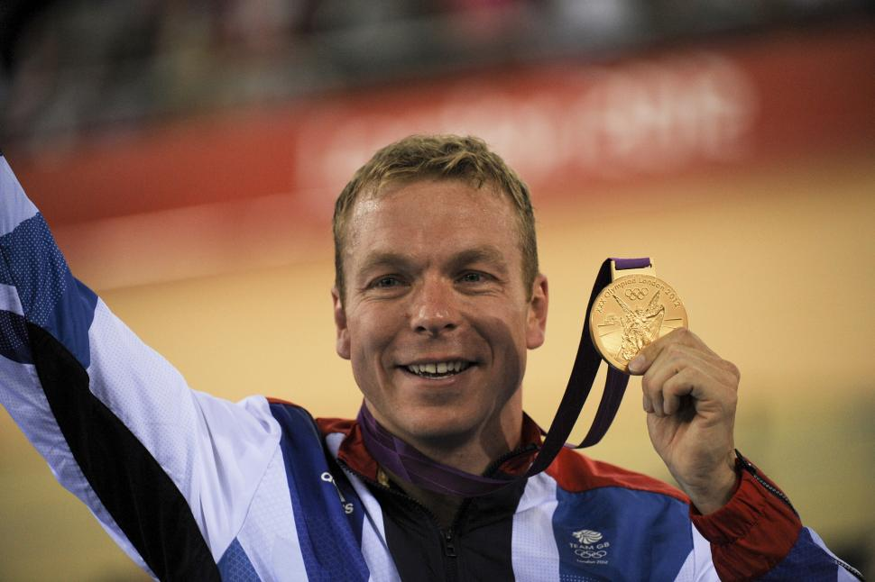 Chris Hoy with gold medal at London 2012 (copyright Britishcycling.org.uk)