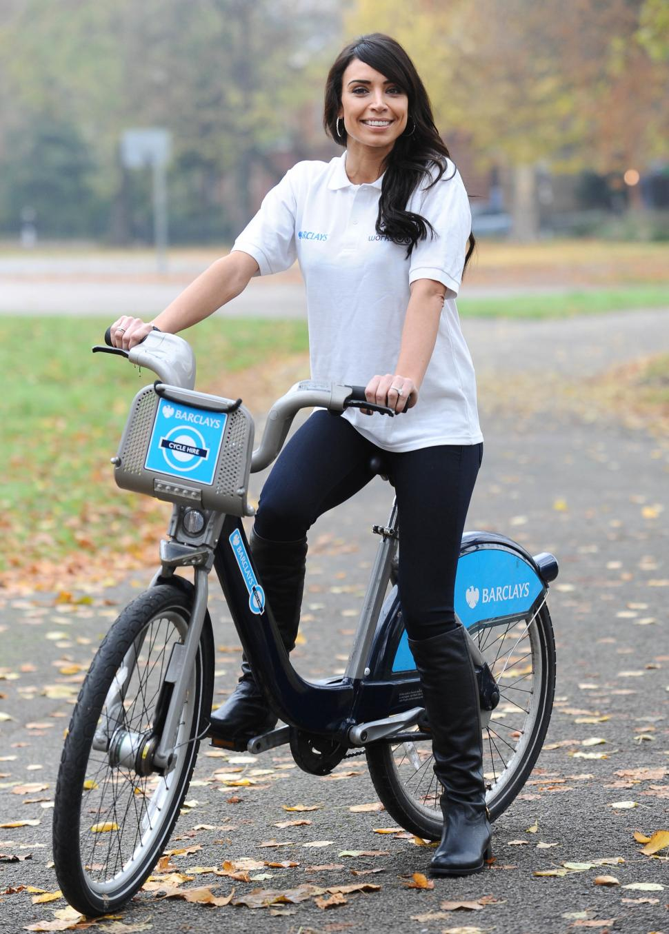 Christine Bleakley on Barclays Cycle Hire bike