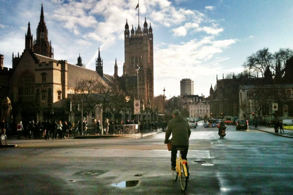 Cyclist and Palace of Westminster (copyright Simon MacMichael)