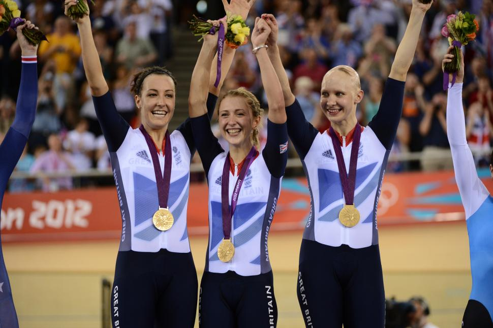 Dani King, Laura Trott and Joanna Rowsell on the London 2012 podium (copyright britishcycling.org.uk)
