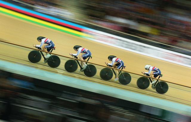 GB women's team pursuit, Track Worlds 2015 (copyright Britishcycling.org.uk)