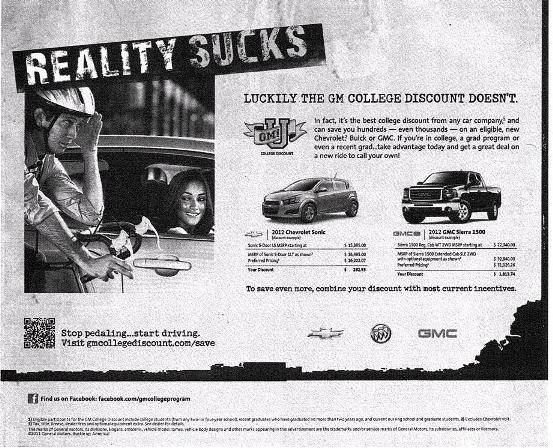 GM Reality Sucks College Discount ad