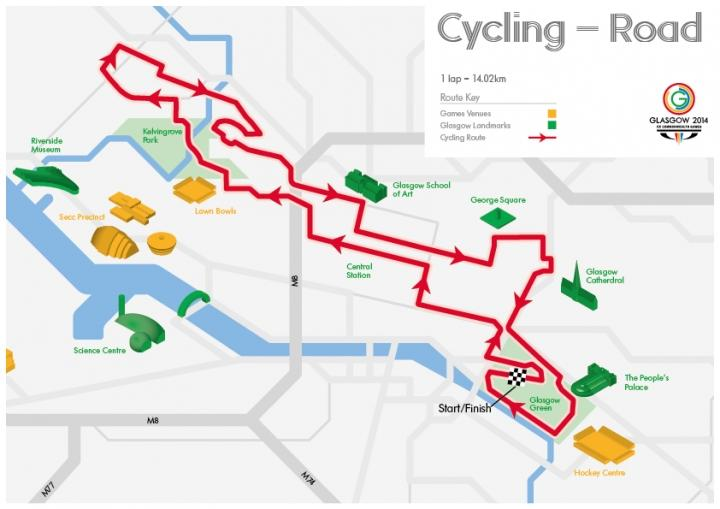 Glasgow 2014 road race route (image via www.glasgow2014.com)