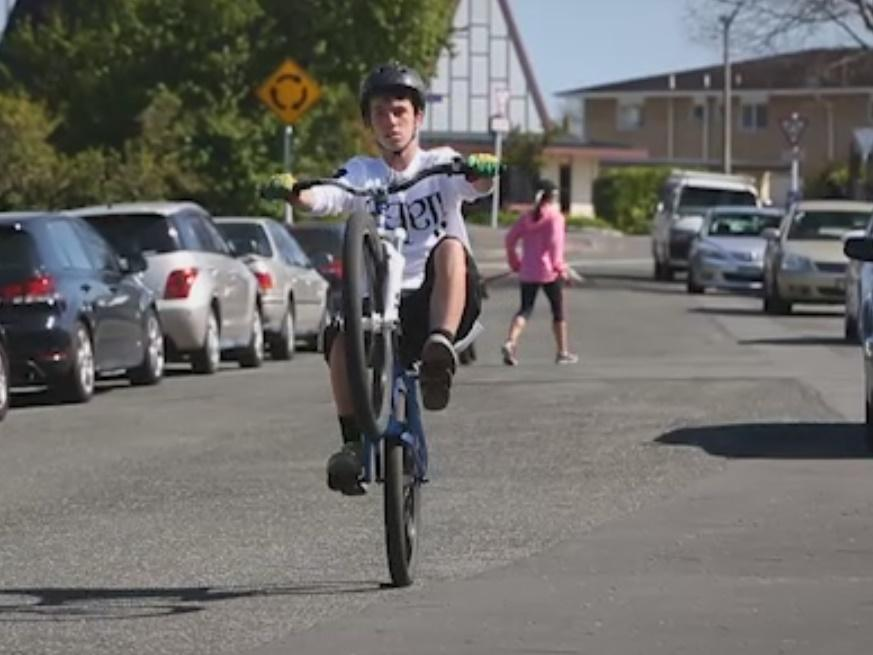 Harry Denton doing a manual (image from stuff.co.nz video)