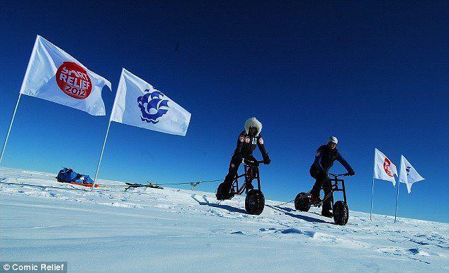 Helen Skelton ice bike (picture - Comic Relief)