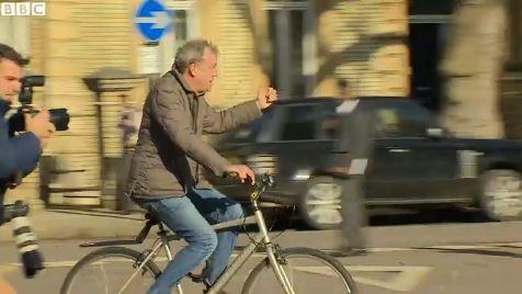 Jeremy Clarkson on bike BBC News video still
