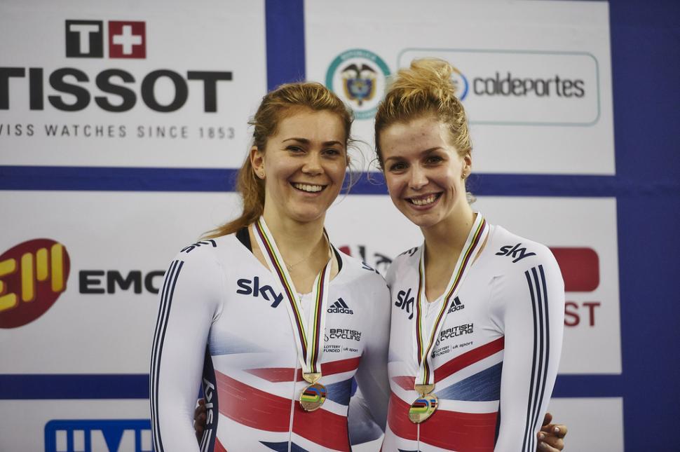 Jess Varnish and Becky James, Cali 2014 (copyright Britishcycling.org.uk)