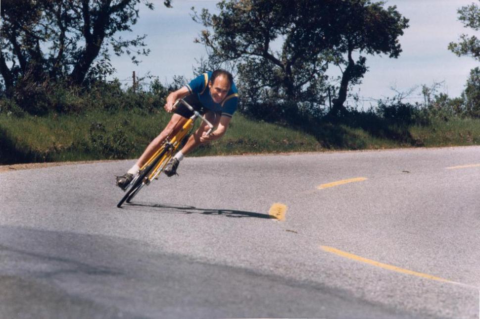 Jobst Brandt cranks it over in a publicity shot for Avocet tyres