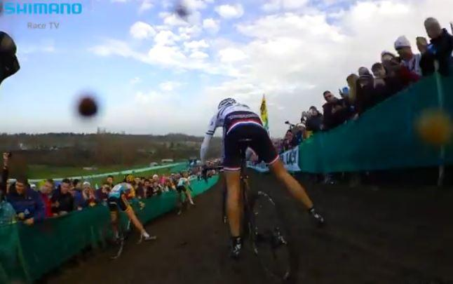 Katie Compton Milton Keynes WC CX on-board camera (pic - Shimano Race TV YouTube still)
