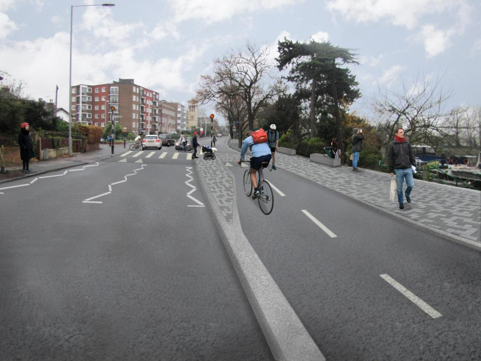 Kingston Portsmouth Road Mini Holland revised artist's impression March 2015