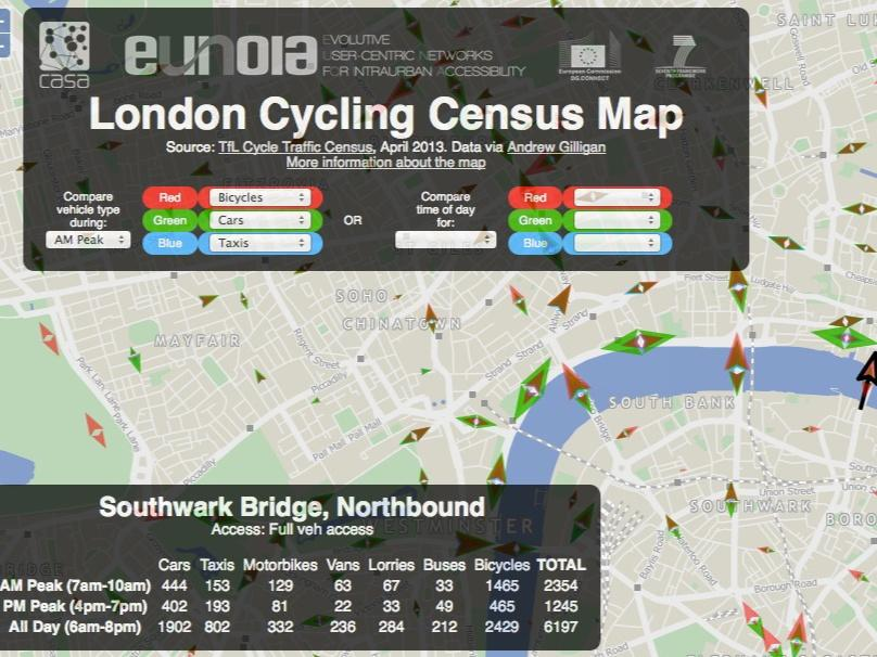 Road Map Central London.New Map Based On Tfl Data Shows Cycle Traffic Flows In Central
