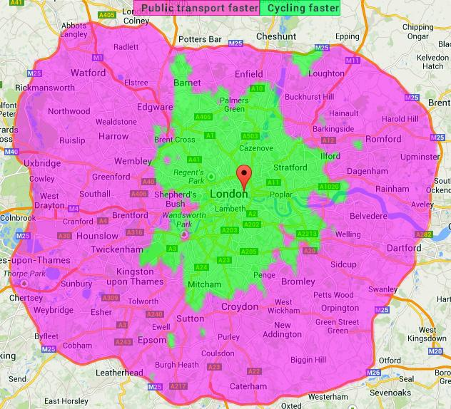 Full Map Of London.Bikes Faster Than Public Transport For Most London Journeys Under 8