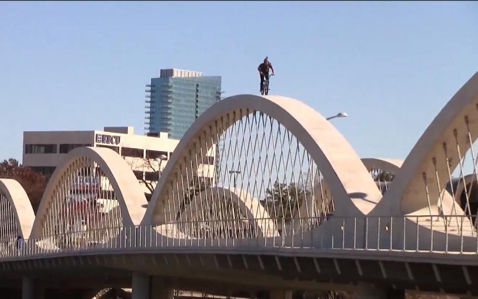 Matt Olson rides Fort Worth Seventh Street Bridge 02