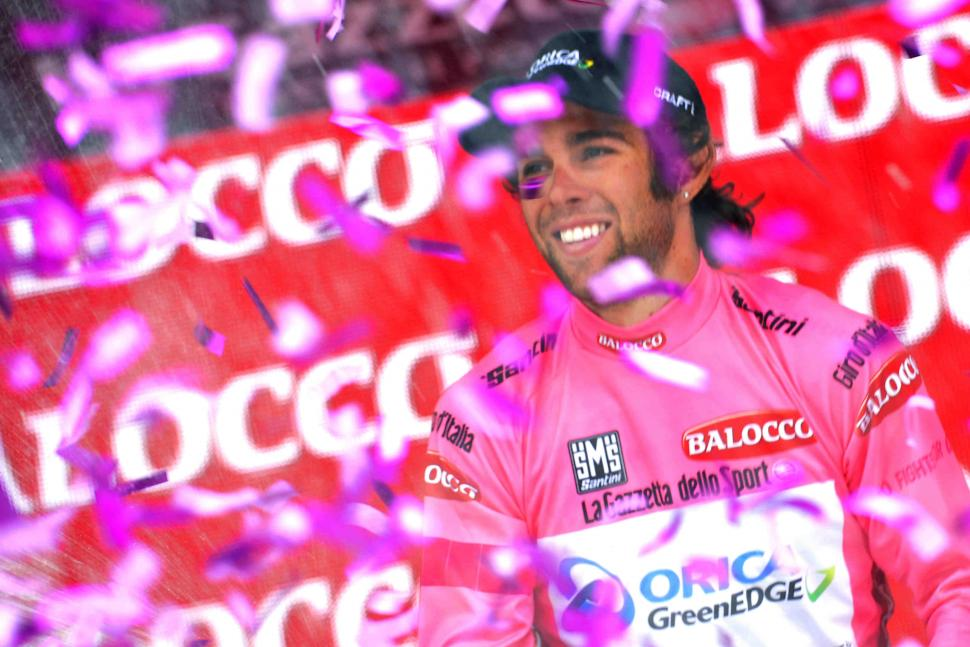 Michael Matthews in the maglia rosa, Giro d'Italia 2014 - picture credit LaPresse